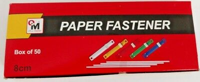 """SET OF 50 FILE DOCUMENT CLIP PAPER FASTENER 80MM 3.1"""" in mix colour."""