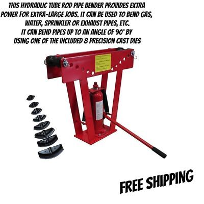 Pipe Tube Bender 16 Ton Hydraulic Rod w/ 8 Dies Up To 90° angle