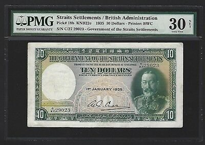 1935 Straits Settlements $10 Dollars PMG 30 VF Bolds Colors, But Repaired Splits