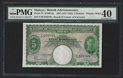 1941 Malaya $5 Dollars, PMG 40 EF, Scarce in Nice Grade, with Clean Paper P-12