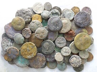 Lot of 75 Very Low Quality Uncleaned Ancient Roman & Greek Coins; 429.7 Grams!!