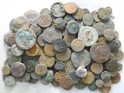 Lot of 100 Very Low Quality Uncleaned Ancient Roman & Greek Coins; 339.6 Grams!!