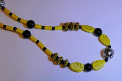 Premium African Powder Glass Bead Necklace:  Yellow, Black, and Silver Bee