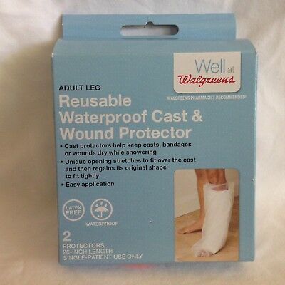 "Walgreens Adult Leg Reusable Waterproof Cast & Wound Protector 2 - 26"" Latex Fre"