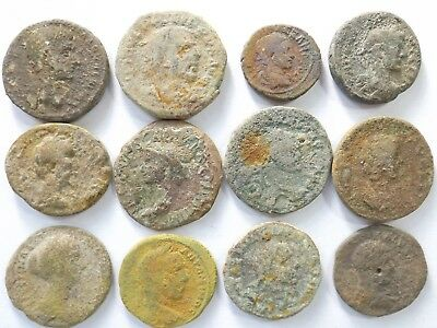 Lot of 12 Low Quality Uncleaned Larger Ancient Roman Coins; 108.2 Grams!