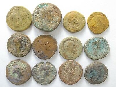 Lot of 12 Low Quality Uncleaned Larger Ancient Roman Coins; 124.4 Grams!
