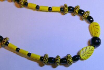 Premium African Powder Glass Bead Necklace:  Yellow, Black Bee