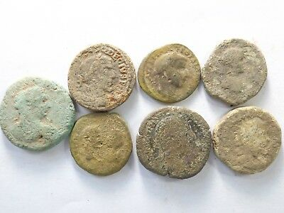 Lot of 7 Low Quality Uncleaned Larger Ancient Roman Coins; 98.2 Grams!