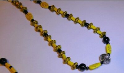 Premium African Powder Glass Bead Necklace:  African Silver Bee is Stunning