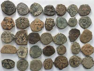 Lot of 35 Lower Quality Uncleaned Ancient Roman Byzantine Coins; 164.5 Grams!