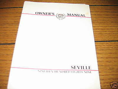 1989 Cadillac SEVILLE Owner's manual,
