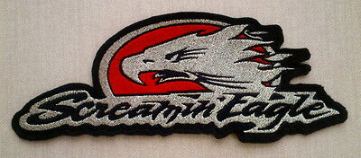 "Aufnäher / Patch ""SCREAMIN` EAGLE"" RED / SILVER METALLIC 18 X 7 cm zum aufnähen"