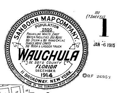 Wauchula, Florida~Sanborn Map© sheet # 3 one map made in 1914 on a CD