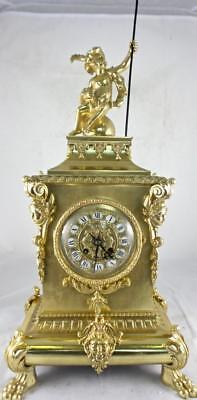 Superb large antique 1855 French Vincenti solid gilt pierced brass mantle clock