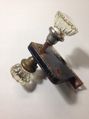 Antique Set 12 Point Glass Door Knobs with Mortise Lock