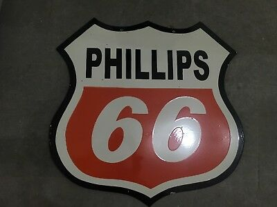 """Vintage Phillips 66 Porcelain SIGN Size 30"""" x 30"""" Inches 2 Sided Pre-Owned Pre-O"""