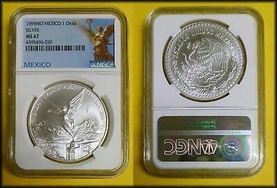 1999 Mexico One Ounce SILVER Libertad Onza NGC MS 67 SCARCE DATE! Beauty!