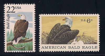 American Bald Eagle - National Bird On 2 U.s. Postage Stamps - Mint Condition