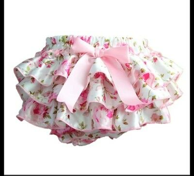 Baby Girl Satin  Nappy Cover * Ivory & Pink * Floral * 9-12Month * Uk Stock New