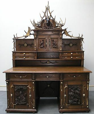 Black Forest German Antler And Oak Kneehole Desk W.top: 1880