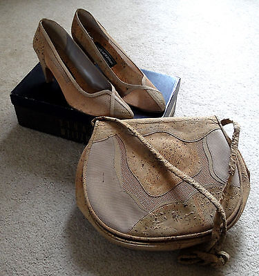 Vintage Stuart Weitzman Ladies Cork Purse Pump High Heels Shoes 7 B