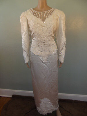 Vintage Plus Size~OLEG CASSINI~Ivory Satin Applique Seed Pearl Wedding Gown~20