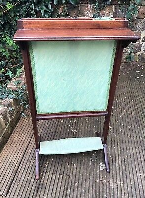Antique Fire Screen With Shelf And Sliding Screen