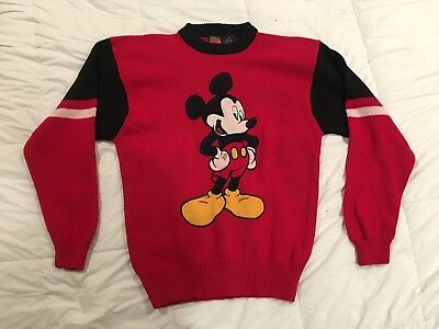 Vintage Mickey Mouse Sweater Pullover Size Medium  80's Red Knit Disney