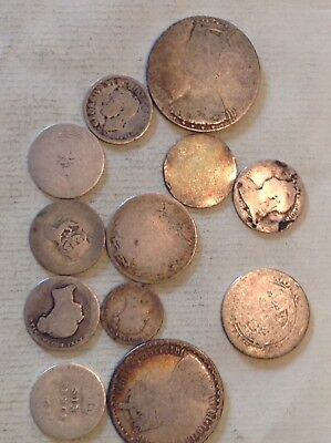Dirty Dozen! 12 Worn Silver Coins For Bullion.