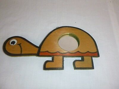 Vtg Mid Century MOD Wooden Turtle Mirror Wall Hanging Groovy!