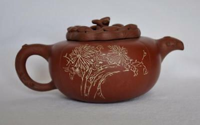 Red clay teapot Chinese  with mark on bottom vintage