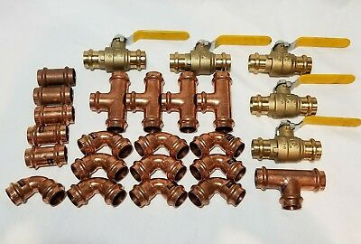 "(Lot of 25) 1/2"" Propress Copper Fittings.Tees, Elbows, Coupling Press Ball Valv"
