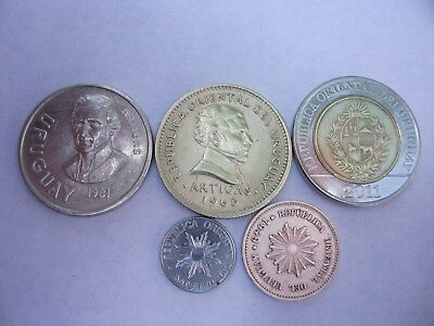 Fantastic Lot Of Uruguay Coins New And Old 1949 To 2011. Total 5 Coins