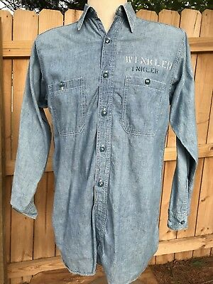 0ea2f29e96a VINTAGE US NAVY Chambray Work Shirt WWII 15  -  237.50
