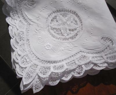 Vintage White Battenburg Lace/Embroidered TABLECLOTH 'Never Used'