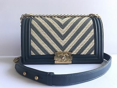 a5f30317378c Nwt Authentic 2017 Chanel Le Boy Medium Blue And Ivory Bag Gold Hardware