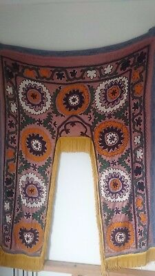 Authentic vintage Moroccan silk embroidered wall hanging 130 x 90cm