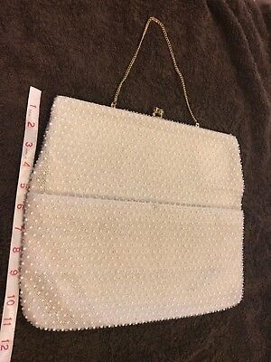 Vintage White Corde Bead by Lumured Purse Bag Chain Strap Metal Frame Clasp USA