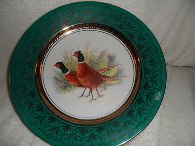 """vintage 9 3/4"""" collector plate green/gold with 2 pheasants in a field"""