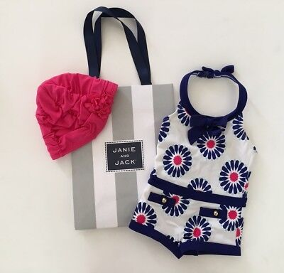 6-12 Month JANIE & JACK Navy Pink Retro Swim Suit Bathing Cap Hat Baby Girl