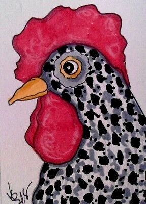"Aceo  Original  ATC  "" SPECKLED ROOSTER    ""    pencil / ink"