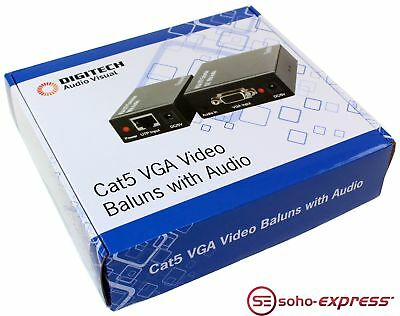 Digitech Cat5 Vga Video Sender Receiver Baluns With Audio Ac-1671