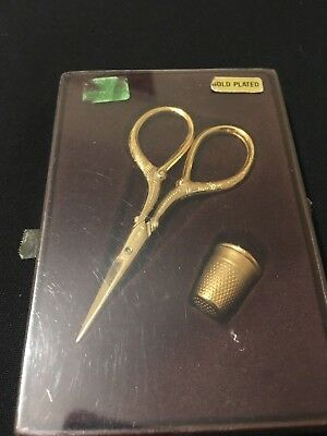 Vintage Gold Plated Sewing scissors and thimble set gift boxed