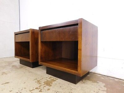 Pair 2 Walnut Nightstands Cabinets Mid Century Modern Side End Tables by LANE