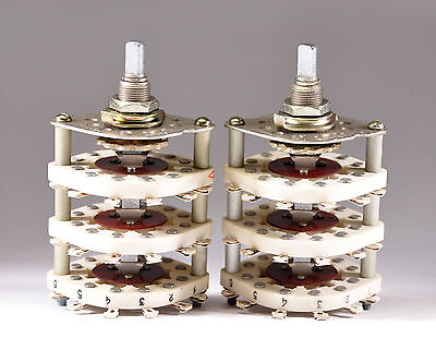 4x 3P3T 3 POLE 3 THROW POSITIONS CERAMIC ROTARY SWITCHES NEW NOS