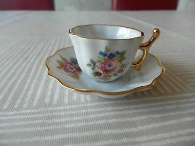 Limoges Heavily Gilded Floral Miniature Cup & Saucer