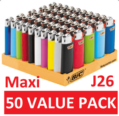 50 X Bic J26 Large Maxi Disposable Gas Lighter Tobacco Cigarette Cigar Zippo Gil