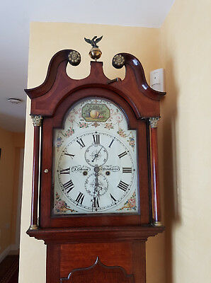 Antique Oak And Mahogany Longcase Grandfather Clock.