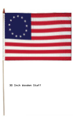 """12x18 Wholesale Lot 3 Betsy Ross Historical Stick Flag 30"""" wood staff"""