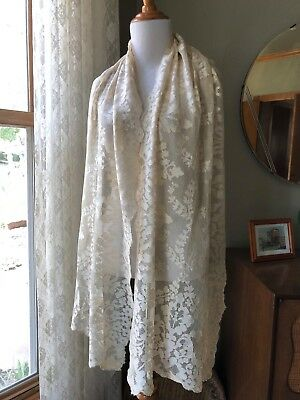Antique Blond Chantilly Lace Silk Scarf Shawl Wrap Veil French Floral Lace 1900s